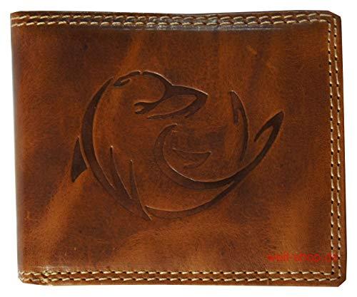Portemonnaie Büffel Delphin Delfin geprägt Leder RFID