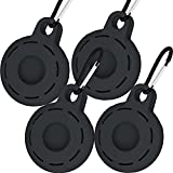 Silicon Case for AirTag with Key Ring 4 Pack, Zero Interference Anti-Scratch Cover Skin, Finders AirTags Loop/Luggage Tag/Bag Charm/Secure Holder for Bag Dog Cat Key and Retirement Gift