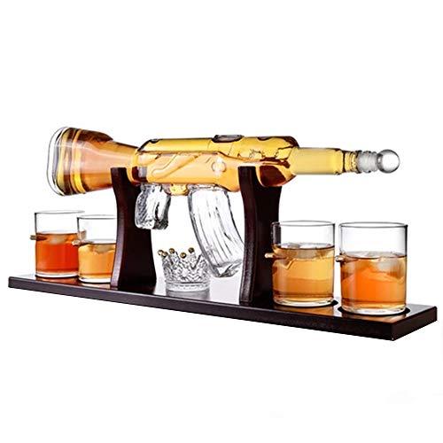 DEDECP Juego de decantador Grande de Pistola de 800 ml, Vasos de Bala, Elegante decantador de Whisky de Rifle con 4 Vasos de Whisky de Bala y Base de Madera de mohogany, Padre y Esposo