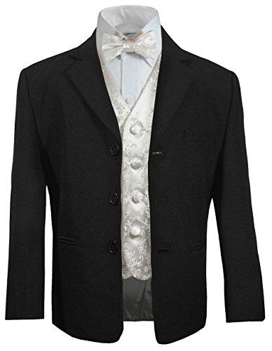 Festlicher Kinder Hochzeit Anzug für Jungs (tailliert) schwarz + Ivory Weste mit Fliege 2