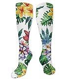 winterwang Tropical Plants And Flowers1' Calcetines altos hasta la rodilla unisex, calcetines largos de compresión para la pantorrilla