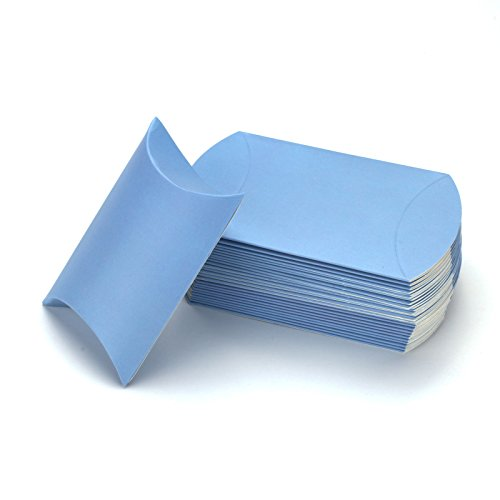 vLoveLife 100pcs Light Blue Kraft Paper Pillow Boxes 4.5'' x 2.8'' Wedding Favor Boxes Candy Box Gift Box Party Favors