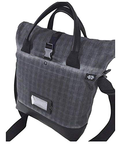 Jack Spade Unknown Cargo Tote Black Plaid Waxwear Bag Leather Trim