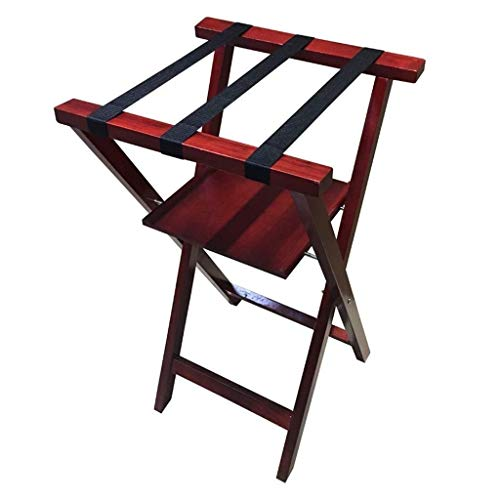 DXX-HR Porta carga Porta carga, 2storey de madera plegable del equipaje del recorrido del almacenaje del zapato del hotel Porta carga vertical del estante zapatero Home Hotel Maleta soporte for el dor