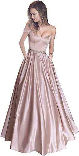 MTOML Off Shoulder Evening Gown A Line V Neck Satin Prom Dress with Pockets Bridal Wedding Dress