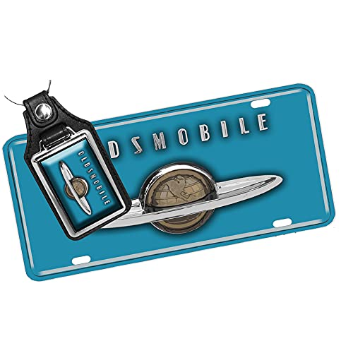 Brotherhood 1940's Compatible with Olds Globe Design - Aluminum License Plate & Matching Key Ring (Blue)