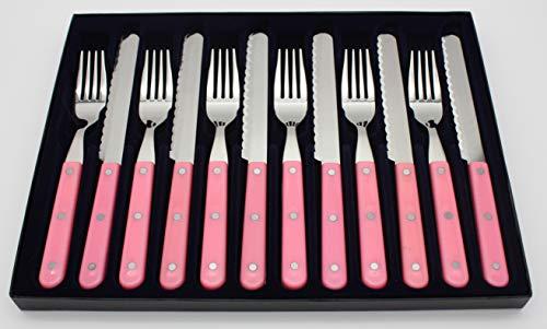 Goodwell Besteck in vielen Farben, Messer und Gebel Set (12 Teilig) im Etui mit Wellenschliff (Rosa)