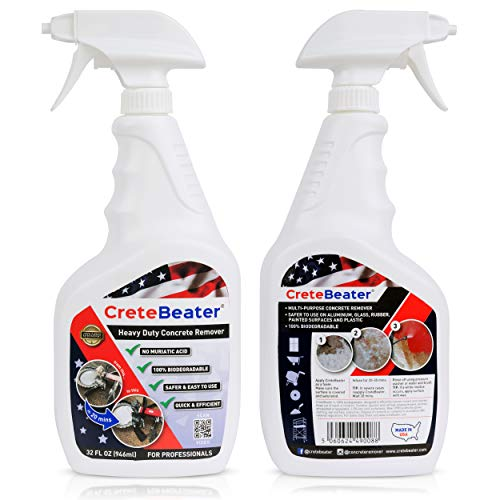 Cretebeater Heavy-duty Concrete Remover - 2 x 32 Fl Oz Trigger Spray Bottle, 100% Biodegradable, Muti Purpose Grout Dissolver, Ideal For Professionals