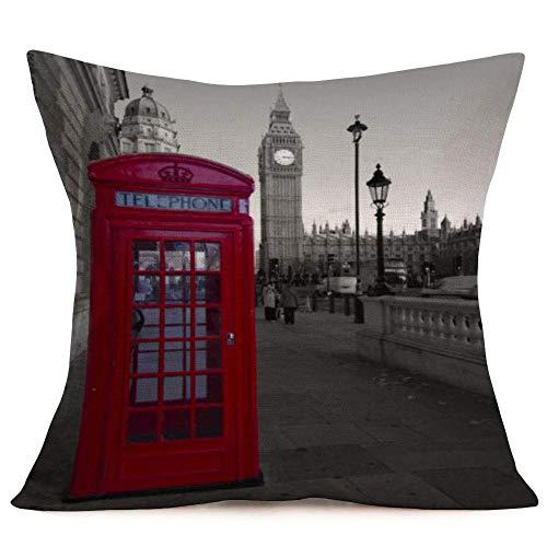 Fundas Cojín Almohada Microfibra 45x45cm Periódico Retro Labios Rojos Cabina Telefónica Té Londres Decorativa con Cremallera Invisible Funda Cojín