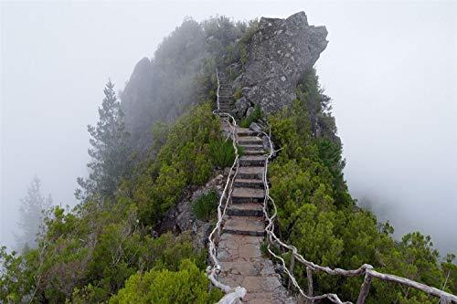 KCHUEAN 1000 Piezas Rompecabezas Decoracion De Muebles Sube Las Escaleras De La Niebla del Escenario De Madera Montaje Personalizado