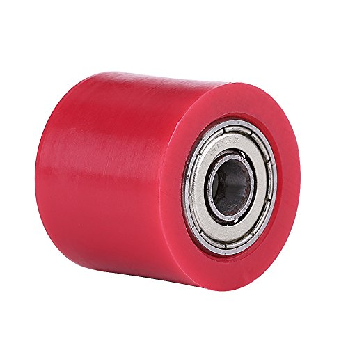 Qiilu 8mm Universal Cadena de rodillos guía Polea tensora Rueda para moto Dirt Bike Enduro(rojo)