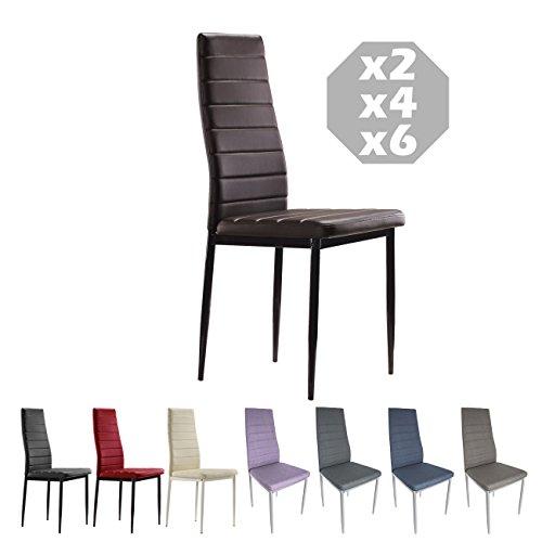 MOG CASA - Conjunto de 2, 4 o 6 sillas de Comedor con Patas metálicas y tapizadas de Piel sintética alcochado - Dimensiones 42x42x98cm (Choco, 4)