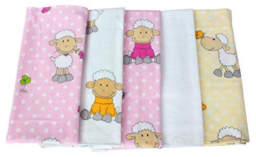 ByBoom - Moltontücher - Baby Flanellwindeln - Spucktücher - Bunt - 70x80 cm - 5er Pack, 100% Baumwolle - kuschelig - weich; MADE IN EU