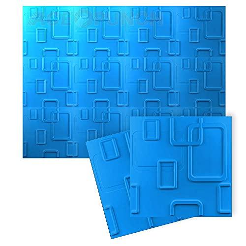 Acepunch Nuevo 12 Piezas of Azul 50CM X 50CM Paneles de parojo 3D de PVC con textura de diseño de hebilla para decoración de interiores de oficina o estudio en casa AP1209