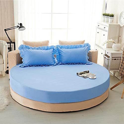 XGguo Protector de colchón/Cubre colchón Acolchado de Fibra antiácaros, Transpirable, Sábana de Cama Redonda de algodón Puro Acolchado-Azul Agua-Single Layer_2.0m