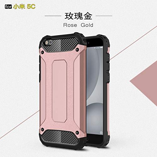 TiHen Hülle für Xiaomi Mi 5C Hülle, Premium [Armor Serie] Outdoor Stoßfest Handyhülle Xiaomi Mi 5C, 360 Grad Full Cover Hülle Xiaomi Mi 5C Doppelschichter Schutz Hülle + Panzerglas 2 Stück - Rose Gold
