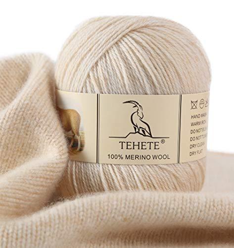 TEHETE Ovillo de lana, 100% Hilados de lana merino Hilo 50g para manta, suéter calcetín, bufanda, diy, ganchillo y tejido(Beige)