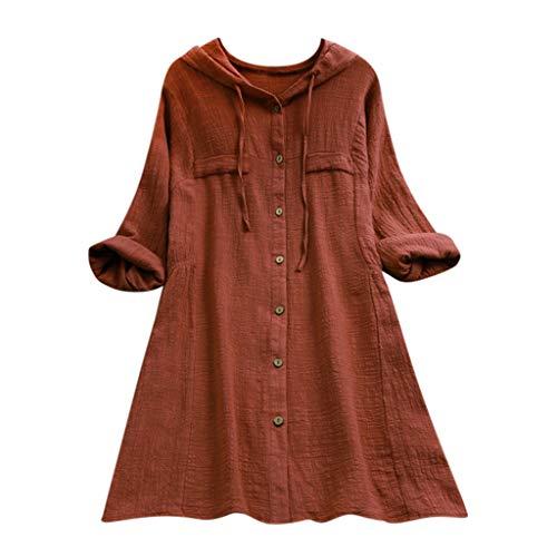 iHENGH Damen Top Bluse Bequem Lässig Mode T-Shirt Blusen Frauen Womens Casual Button Plus Size Baumwolle Tops T-Shirt mit Kapuze Tasche lose Bluse(Kaffee, 5XL)