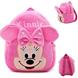 DZert Minnie Kids Bags for School 10Ltr Baby/Boys/Girls Velvet Backpack (Pink)