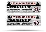 SECYOURITY Pegatinas de advertencia GPS para bicicleta, 2 unidades, calidad prémium, 75 mm x 25 mm, color plateado, para colocar desde el exterior, prevención de robos de bicicletas (plata, 2)