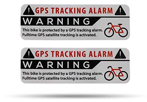 SECYOURITY GPS Alarm Aufkleber Fahrrad - 2 Stück Warnaufkleber - Premium Qualität - 75 mm x 25 mm Silber - von Außen anzubringen - Prävention Fahrraddiebstahl (Silber, 2)