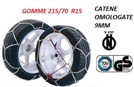 RICAMBIITALIA2017Juego de Cadenas de Nieve 9milímetros para Coche homologadas tuv GS–v5117Grupo 100(gomas/70R15) selglass