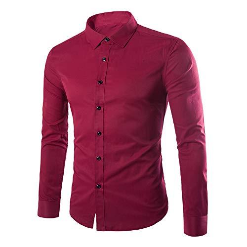 YUPENG Men Shirt Long Sleeve Slim Fit Solid Color Shirt Leisure Business Party Shirt for Men New All-Match Tops Fashion Men Shirts Wedding Spring Dress Shirt Tops 4XL Wine Red