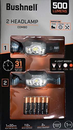 Bushnell Headlamp LED 500 Lumens 4-Light Modes, 2 Count