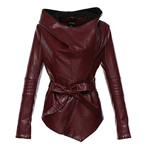 DANWJDP Frauen Lederjacke,Damen Leder Jacke Full Sleeve Hooded Jacket Women's Casual Fashion Retro Dunkelrot Sammlung PU Leder Kurze Mäntel,3XL