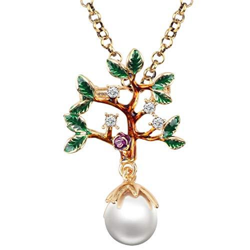 N/A Collar Colgante Collar de Hoja de Flor de árbol de Perlas...