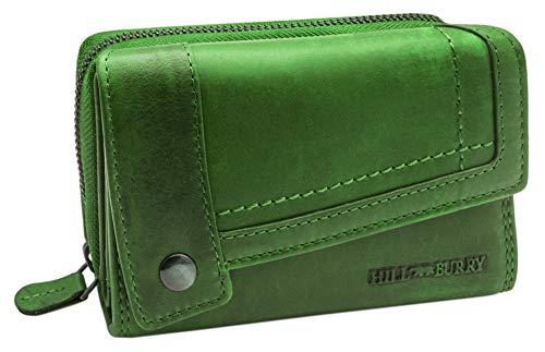 Hill Burry Damen Leder Portemonnaie | Große Geldbörse aus echtem Leder | Frauen Geldbeutel mit vielen Fächern | Mit Münzfach & RFID Schutz (Grün)