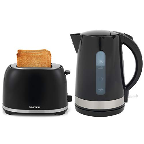 Salter COMBO-2088 Deco Collection 1.7L Kettle and 2 Slice Cool Touch Toaster Set, Black/Stainless Steel