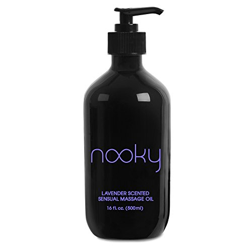Nooky Lavender Massage Oil. with Essential and Jojoba Oils for Therapeutic Massaging 16 Ounce.