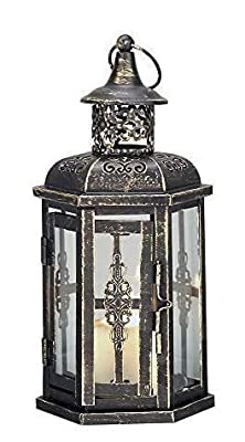 JHY DESIGN Decorative Lanterns-10inch High Vintage Style Hanging Lantern, Metal Candleholder for Indoor Outdoor, Events, Parities and Weddings(Black with Gold Brush) by JHY DESIGN