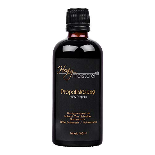 Propolis Tinktur 100ml mit 40{3f9f4b9539bb534dc108c8c9cba64fffa2be394fd7dce125de6743f71e9cdf41} natürlichem Propolis, in bester Qualität direkt vom Hersteller/aus Schwarzwälder Imkerei, Propolis-Tinktur/Propolis-Lösung