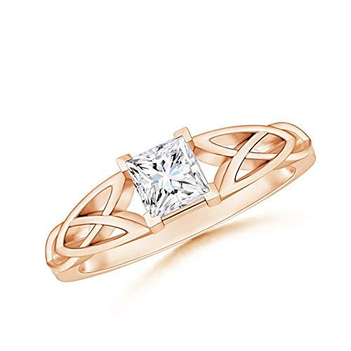 Solitaire Square Moissanite Celtic Knot Ring in 14K Rose Gold (4.5mm Moissanite)