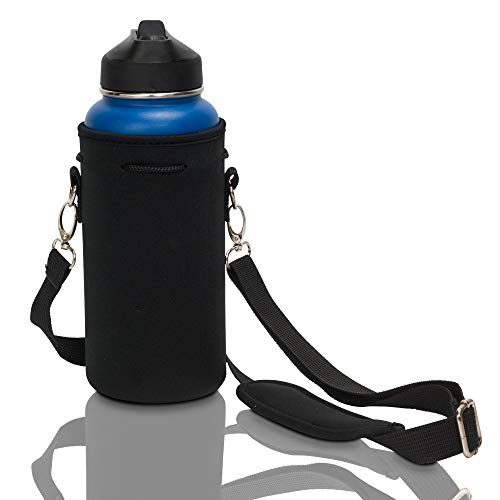 Made Easy Kit Neoprene Water Bottle Carrier Holder Bag Pouch with Adjustable Shoulder Strap Perfect for Carrying Stainless Steel, Water Bottles, Plastic Bottle (Black, L (32oz / 1.5L))