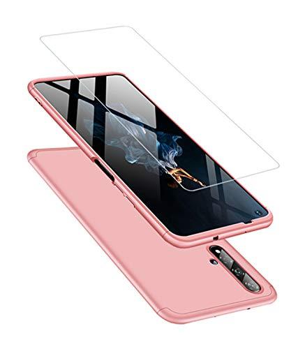 JOYTAG Cover Compatibile Honor 20 Custodia + vetro temperato 360 gradi Ultra sottile Tutto incluso Protezione 3 in 1 cover del telefono PC case-Rose Gold