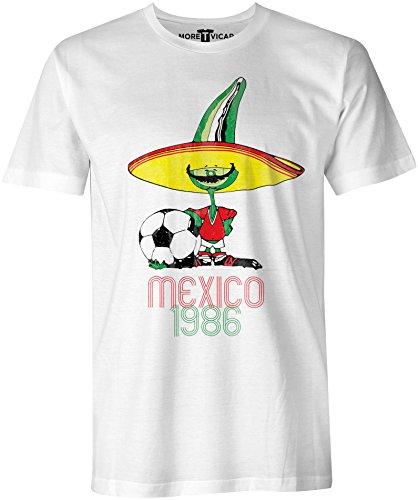 Retro Pique Mexico 86 - Distressed Print Herren Football World Cup T Shirt