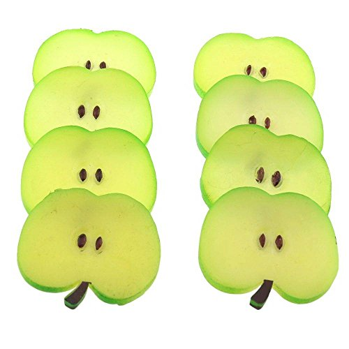 Gresorth 8 PCS Artificial Green Apple Slice Fake Fruit Slices Decoration Photography Props