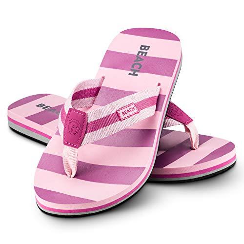 Ultrapower Flip-On Damen Zehentrenner | Flip Flops | Badelatschen | Strandschuhe | Duschlatschen | Zehenstegpantolette | Bad | Sauna Schuhe | Sandalen | ZT2 | Rose/Brombeer | Gr.39