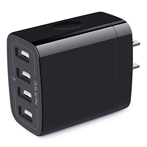 Wall Charger, USB Charger Adapter, AILKIN 4.8A 4Multi Port Fast Charging Station Power Base Block Plug Cube Brick for iPhone 12 11Pro Max/XR/XS/8/7 Plus, Samsung A10e/Note 10+/S10 Kindle Fire USB Plug