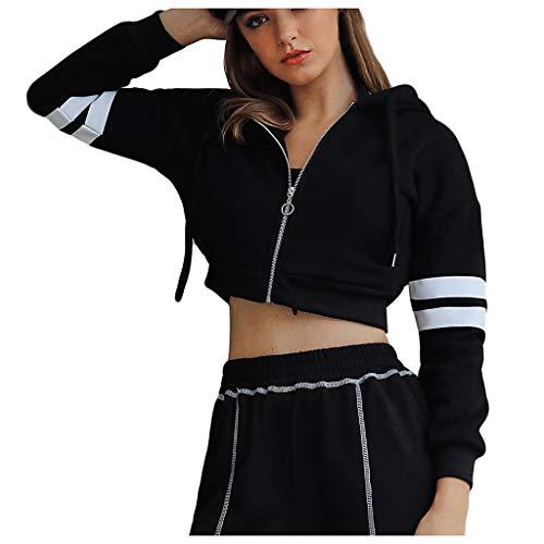 Snakell Femme Gilet Court Manteau de Sweatshirt Fermeture éclair Cardigan Basic Slim Veste de Soiree Chic Gilet Noir Femme Manches Longue Elégant Veste Ouverte Outwear