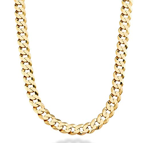 Dubai Collections Men's Jewelry Cuban Link Chain 9MM, Round, 24K Gold with Inlaid Bronze, Fashion Jewelry Necklaces, Guaranteed for Life, 24-28