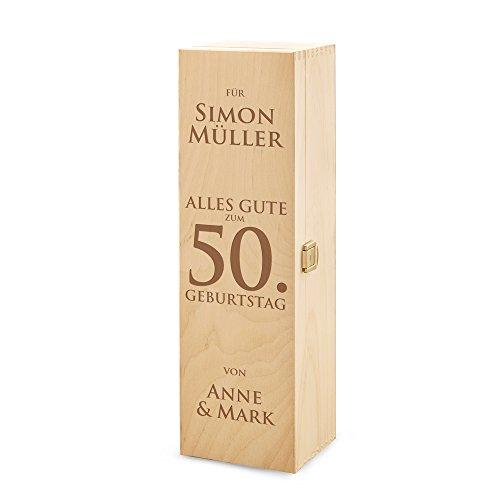 AMAVEL Casa Vivente Weinbox aus Holz, Alles Gute zum Geburtstag, Personalisiert mit Namen, Verpackung für Weingeschenke