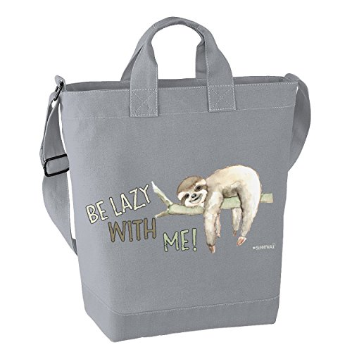 Faultier Freizeittasche Strandtasche canvas sloth - Be lazy with me mit Innentasche