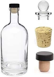 Nakpunar 12 oz Heavy Base Glass Liquor Bottle with T-Top Synthetic Cork with Bonus Glass Bottle Stopper and Regular Bottle Cork - Made in USA (1, 12 oz (375 ml))