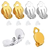 PP OPOUNT 48 Pieces Round Flat Back Tray Earring Clips and 48 Pieces Clip-on Earring Findings Pad Base for...