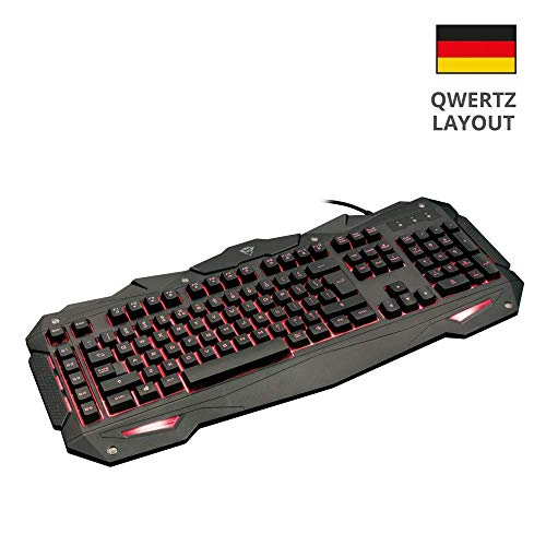 Trust GXT 840 Myra Beleuchtete Gaming-Tastatur (5 Makro Tasten, QWERTZ Deutsches Tastaturlayout, 12 Multimedia Tasten)
