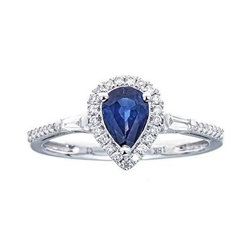 Gin & Grace El oro blanco 18K genuino azul zafiro diamante (SI1-SI2) de compromiso de boda Estilo Banda Proponer Promise Ring para la Mujer
